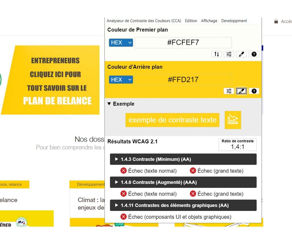 Test de contraste sur le site BPI France